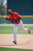 Boston Red Sox Xavier LeGrant (46) during a Minor League Spring Training game against the Baltimore Orioles on March 20, 2018 at Buck O'Neil Complex in Sarasota, Florida.  (Mike Janes/Four Seam Images)