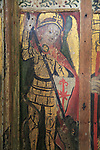 Saint Michael fighting a dragon, medieval rood screen paintings, St Andrew church, Westhall, Suffolk, England, UK