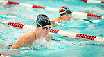 NAUGATUCK ,  CT-101019JS15- Seymour's McKenna Haynes, left, and Naugatuck's Ayana Williams compete in the 100 Yard Breaststroke during their meet Friday at Naugatuck High School. <br /> Jim Shannon Republican-American