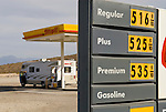 Possibly California's highest gas price in April 2008 at the Shell station in Panamint Springs, California, half way between Lone Pine and Furnace Creek in Death Valley along SR 190: $5.169 per gallon, regular, $5.259 Plus and $5.359 Premium. April 8, 2008.