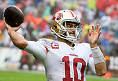 San Francisco 49ers quarterback Jimmy Garoppolo (10) takes a warm-up throw during a break in the fourth quarter action against the Washington Redskins at FedEx Field in Landover, Maryland on Sunday, October 20, 2018.  The 49ers won the game 9 - 0.<br /> Credit: Ron Sachs / CNP