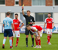 Referee Michael Salisbury shows Accrington Stanley's Sam Finley the yellow card<br /> <br /> Photographer Alex Dodd/CameraSport<br /> <br /> The EFL Sky Bet League One - Fleetwood Town v Accrington Stanley - Saturday 15th September 2018  - Highbury Stadium - Fleetwood<br /> <br /> World Copyright &copy; 2018 CameraSport. All rights reserved. 43 Linden Ave. Countesthorpe. Leicester. England. LE8 5PG - Tel: +44 (0) 116 277 4147 - admin@camerasport.com - www.camerasport.com