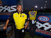 Aug 30, 2014; Clermont, IN, USA; A member of the NHRA Safety Safari during qualifying for the US Nationals at Lucas Oil Raceway. Mandatory Credit: Mark J. Rebilas-USA TODAY Sports