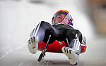 7 February 2009: Peter Iliev slides for Bulgaria in the Men's Competition at the 41st FIL Luge World Championships, in Lake Placid, New York, USA. .  .Mandatory Photo Credit: Ed Wolfstein Photo