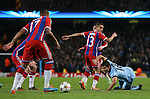 Sergio Aguero of Manchester City goes down on the edge to the penalty area - UEFA Champions League group E - Manchester City vs Bayern Munich - Etihad Stadium - Manchester - England - 25rd November 2014  - Picture Simon Bellis/Sportimage