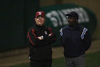 15 February 2008: Stanford Cardinal head coach John Rittman (left) during Stanford's 11-0 win against the Wichita State Shockers in the Stanford Invitational I at the Boyd and Jill Smith Family Stadium in Stanford, CA.