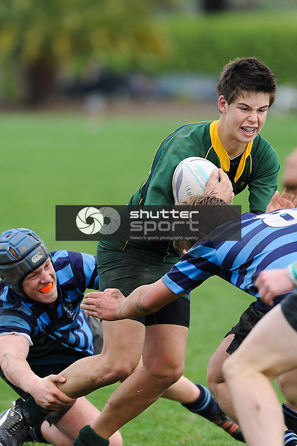 #12 Jayden on the burst. Nelson College v Waimea College u15 Final. Tahuna, Nelson, 11/08/12. Photo: Shaun Bowie / Shuttersport