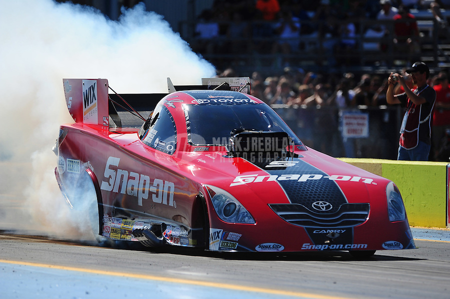 Sept. 18, 2011; Ennis, TX, USA: NHRA funny car driver Cruz Pedregon during qualifying for the Fall Nationals at the Texas Motorplex. Mandatory Credit: Mark J. Rebilas-