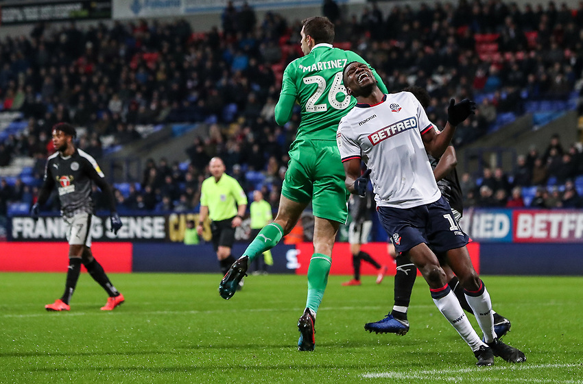 Bolton Wanderers' Sammy Ameobi rues a missed opportunity as Reading's goalkeeper Emiliano Martinez saves<br /> <br /> Photographer Andrew Kearns/CameraSport<br /> <br /> The EFL Sky Bet Championship - Bolton Wanderers v Reading - Tuesday 29th January 2019 - University of Bolton Stadium - Bolton<br /> <br /> World Copyright © 2019 CameraSport. All rights reserved. 43 Linden Ave. Countesthorpe. Leicester. England. LE8 5PG - Tel: +44 (0) 116 277 4147 - admin@camerasport.com - www.camerasport.com