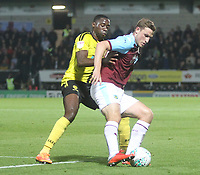 Burnley's Chris Wood battles with Burton Albion's Lucas Atkins<br /> <br /> Photographer Mick Walker/CameraSport<br /> <br /> The Carabao Cup Round Three   - Burton Albion  v Burnley - Tuesday  25 September 2018 - Pirelli Stadium - Buron On Trent<br /> <br /> World Copyright © 2018 CameraSport. All rights reserved. 43 Linden Ave. Countesthorpe. Leicester. England. LE8 5PG - Tel: +44 (0) 116 277 4147 - admin@camerasport.com - www.camerasport.com