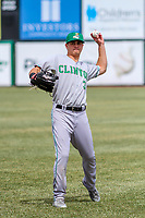 Clinton LumberKings outfielder Jack Larsen (3) warms up in the outfield prior to a Midwest League game against the Wisconsin Timber Rattlers on April 26, 2018 at Fox Cities Stadium in Appleton, Wisconsin. Clinton defeated Wisconsin 7-3. (Brad Krause/Four Seam Images)