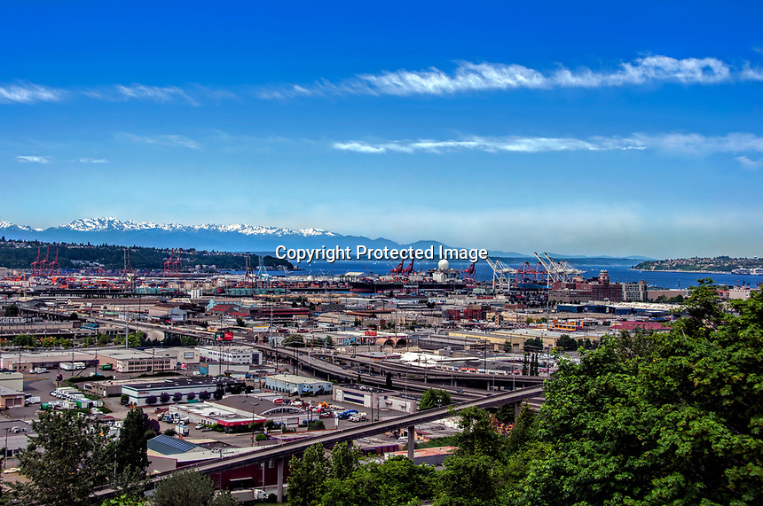 A view toward West Seattle and the Harbor from the opposite hillside, Washington State.
