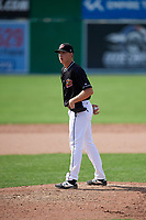 Batavia Muckdogs relief pitcher Tyler Mitzel (40) looks in for the sign during a game against the Auburn Doubledays on September 1, 2018 at Dwyer Stadium in Batavia, New York.  Auburn defeated Batavia 10-5.  (Mike Janes/Four Seam Images)