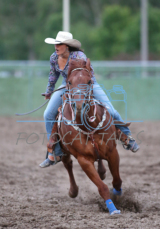 Barrel racing action at the Smackdown at Fuji Park in Carson City, Nev., on Friday, June 5, 2015. <br /> Photo by Cathleen Allison/Nevada Photo Source