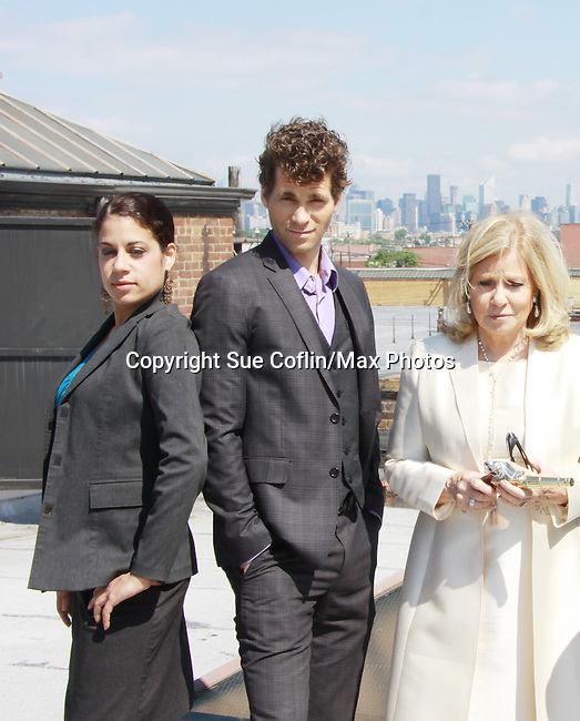 Lise Fisher, Josh Davis and Guiding Light Tina Sloan - Empire The Series films on set June 3, 2012  in Brooklyn, New York. (Photo by Sue Coflin/Max Photos)