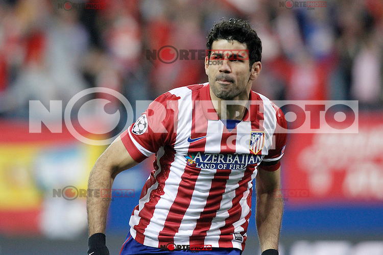 Atletico de Madrid's Diego Costa celebrates goal during Champions League 2013/2014 match.March 11,2014. (ALTERPHOTOS/Acero)