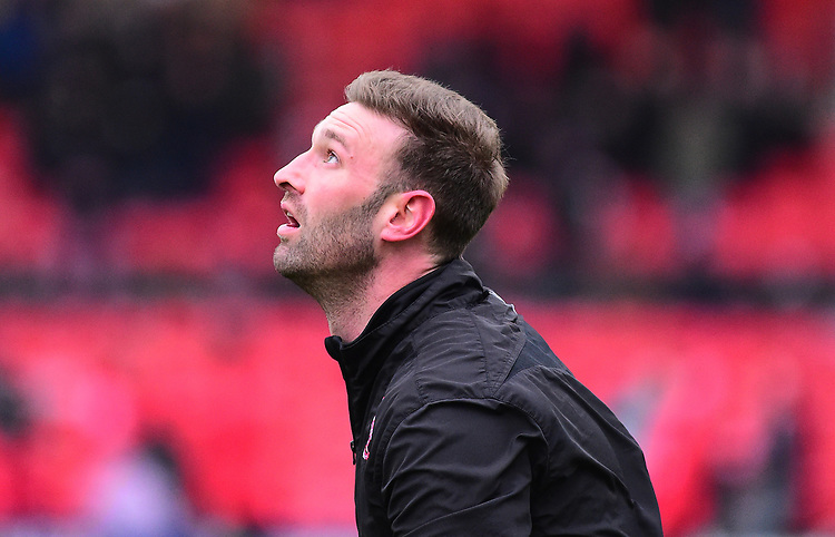Lincoln City's first team coach/under 23 manager Jamie McCombe during the pre-match warm-up<br /> <br /> Photographer Andrew Vaughan/CameraSport<br /> <br /> The EFL Sky Bet League Two - Saturday 15th December 2018 - Lincoln City v Morecambe - Sincil Bank - Lincoln<br /> <br /> World Copyright © 2018 CameraSport. All rights reserved. 43 Linden Ave. Countesthorpe. Leicester. England. LE8 5PG - Tel: +44 (0) 116 277 4147 - admin@camerasport.com - www.camerasport.com