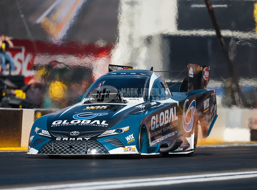 Feb 8, 2019; Pomona, CA, USA; NHRA funny car driver Shawn Langdon during qualifying for the Winternationals at Auto Club Raceway at Pomona. Mandatory Credit: Mark J. Rebilas-USA TODAY Sports