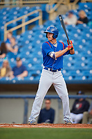 South Bend Cubs first baseman Jared Young (16) at bat during the first game of a doubleheader against the Lake County Captains on May 16, 2018 at Classic Park in Eastlake, Ohio.  South Bend defeated Lake County 6-4 in twelve innings.  (Mike Janes/Four Seam Images)