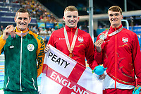Picture by Alex Whitehead/SWpix.com - 07/04/2018 - Commonwealth Games - Swimming - Optus Aquatics Centre, Gold Coast, Australia - Adam Peaty of England wins Gold in the Men's 100m Breaststroke final, Silver - James Wilby of England, Bronze - Cameron van der Burgh of South Africa.
