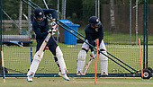 Cricket Scotland - Scotland training at Ayr CC ahead of this week's 4 day Intercontinental Cup match against Namibia - the match begins tomorrow (Tuesday) with an 11am start on each day - Richie Berrington and Calum MacLeod in the nets - picture by Donald MacLeod - 05.06.2017 - 07702 319 738 - clanmacleod@btinternet.com - www.donald-macleod.com