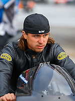 May 5, 2017; Commerce, GA, USA; NHRA pro stock motorcycle rider Joey Gladstone during qualifying for the Southern Nationals at Atlanta Dragway. Mandatory Credit: Mark J. Rebilas-USA TODAY Sports