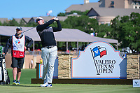 Seamus Power (IRL) watches his tee shot on 11 during round 4 of the Valero Texas Open, AT&amp;T Oaks Course, TPC San Antonio, San Antonio, Texas, USA. 4/23/2017.<br /> Picture: Golffile | Ken Murray<br /> <br /> <br /> All photo usage must carry mandatory copyright credit (&copy; Golffile | Ken Murray)