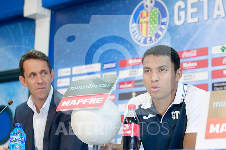 Getafe CF's new player Jefferson Montero (r) with the Sports Director Ramon Planes during his official presentation.  September 5, 2017. (ALTERPHOTOS/Acero)