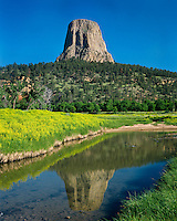 Devils Tower, Belle Fourche River, Devils Tower National Monument, Wyoming.