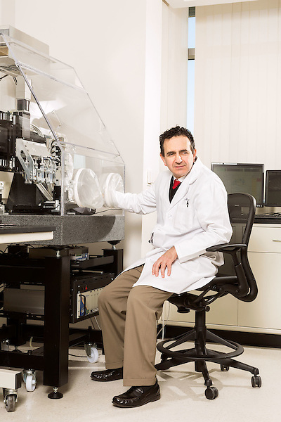 February 11, 2015. Winston Salem, North Carolina.<br />  Dr. Anthony Atala sits at one of the 3D printers used by the Wake Forest Institute for Regenerative Medicine to make body part scaffolds.<br />  Anthony Atala, M.D., is the Director of the Wake Forest Institute for Regenerative Medicine. Dr. Atala is a pioneer in the use of 3D printing in the area of regenerative medicine, focusing on growing new human cells, tissues and organs.