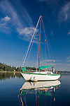 Carr Inlet, Puget Sound, WA<br /> Sailboat anchored in Mayo cove at Penrose Point, Penrose Point State Park
