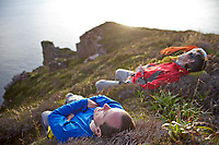 Andy Turner and Dave Macleod taking a well earned rest on the top of St John's head, Hoy, Scotland