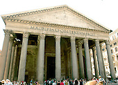 Rome, Italy - April 4, 2006 -- Exterior view of the facade of the Pantheon in Rome, Italy on Tuesday, April 4, 2006.  The Pantheon is the best preserved of all of Rome's ancient building.  It is believed to have been built in the first century AD by the Emperor Hadrian..Credit: Ron Sachs / CNP