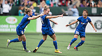 Seattle, WA - Saturday Aug. 27, 2016: Kim Little, Manon Melis celebrates scoring, Nahomi Kawasumi during a regular season National Women's Soccer League (NWSL) match between the Seattle Reign FC and the Portland Thorns FC at Memorial Stadium.