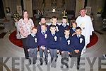 Pupils from Naomh Mhuire Boy's NS Cahersiveen who made their First Holy Communion in The O'Connell Memorial Church Cahersiveen on Saturday last were front l-r;Ferdia Greaney, Fionn O'Connell, Colin O'Sullivan, Rokas Balzaravicius, Timothy O'Sullivan, back l-r; Triona Coffey, Garry Sweeney, Tadhg O'Connor, Austin Murphy, Sebastin Stroie & Canon Billy Crean.