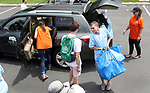 WATERBURY CT. 21 June 2017-062117SV02-Joe Mellitt of Cheshire unloads a car of food items for the Connecticut food bank during United Way's 75th annual Day of Action in Waterbury Wednesday.<br /> Steven Valenti Republican-American