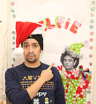 Judge Lin-Manuel Miranda during the cast of 'Hamilton' 2016 Door Decorating Competition at Richard Rodgers Theatre on December 23, 2016 in New York City.