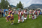 WY: Wyoming, Cody: Dancing at Plains Indian June Powwow...Photo #: yellow551..Photo copyright Lee Foster, 510/549-2202, lee@fostertravel.com, www.fostertravel.com..