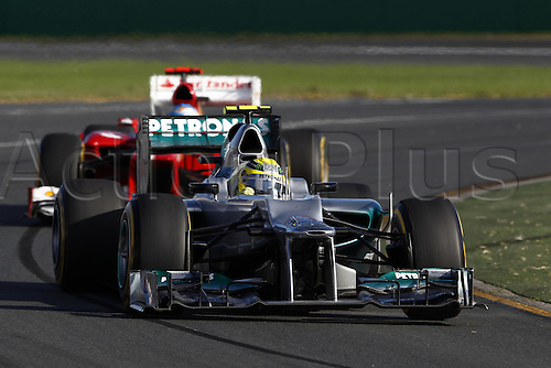 18.03.2012. Melbourne, Australia.   FIA Formula One World Championship 2012 Grand Prix of Australia 8 Nico Rosberg ger Mercedes AMG Petronas F1 team  Jenson Button won the race with Sebbastian Vettel in second and Lewis Hamilton in third place.