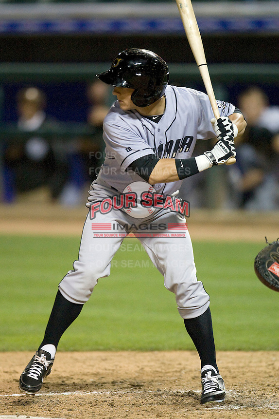 Omaha Storm Chaser outfielder David Lough at bat against the Round Rock Express in Pacific Coast League baseball on Monday April 11th, 2011 at Dell Diamond in Round Rock Texas.  (Photo by Andrew Woolley / Four Seam Images)