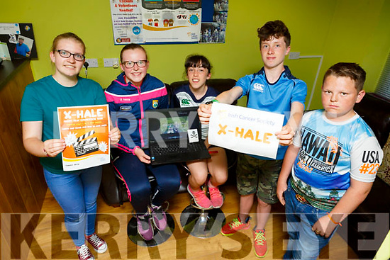 Members of the Castleisland KDYS who have done a video for the Irish Cancer Society Exhale Project.   <br /> L-r, Jessica O'Leary (Farranfore), Katelyn Curtain (Knocknagoshel), Kelly-Anne and Michael Nix (Knocknagoshel) and John Paul O'Brien (Castleisland).
