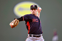Starting pitcher Ryan Lawlor (18) of the Rome Braves delivers a pitch in a game against the Greenville Drive on Wednesday, May 31, 2017, at Fluor Field at the West End in Greenville, South Carolina. Greenville won, 7-1. (Tom Priddy/Four Seam Images)