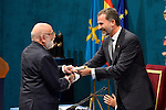François Englert receives the Prince of Asturias Award for Technical & Scientific Research during the 2013 Prince of Asturias Awards ceremony at the Campoamor Theater in Oviedo, Spain. October 25, 2013..(ALTERPHOTOS/Victor Blanco)