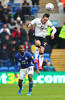 12th January 2020; Cardiff City Stadium, Cardiff, Glamorgan, Wales; English Championship Football, Cardiff City versus Swansea City; Connor Roberts of Swansea City leaps to head the ball - Strictly Editorial Use Only. No use with unauthorized audio, video, data, fixture lists, club/league logos or 'live' services. Online in-match use limited to 120 images, no video emulation. No use in betting, games or single club/league/player publications