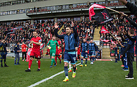 Matt Bloomfield of Wycombe Wanderers applauds the support as he leads out his team ahead of the Sky Bet League 2 match between Leyton Orient and Wycombe Wanderers at the Matchroom Stadium, London, England on 1 April 2017. Photo by Andy Rowland.