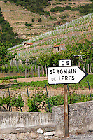 road sign vineyard st romain cornas rhone france