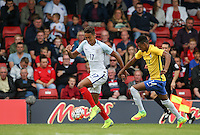 Dominic Calvert-Lewin (Everton) of England moves away from Robson of Brazil during the International match between England U20 and Brazil U20 at the Aggborough Stadium, Kidderminster, England on 4 September 2016. Photo by Andy Rowland / PRiME Media Images.