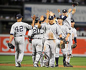 Baltimore, MD - August 31, 2009 -- New York Yankees celebrate their 5 - 1 victory over the Baltimore Orioles at Oriole Park at Camden Yards in Baltimore, MD on Monday, August 31, 2009.  .Credit: Ron Sachs / CNP.(RESTRICTION: NO New York or New Jersey Newspapers or newspapers within a 75 mile radius of New York City)