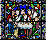 Stained glass window the Last Supper by William Wailes dated 1860, Bishops Cannings church, Wiltshire, England, UK