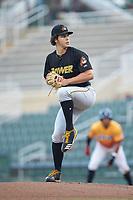West Virginia Power starting pitcher Max Kranick (19) in action against the Los Rapidos de Kannapolis at Kannapolis Intimidators Stadium on July 25, 2018 in Kannapolis, North Carolina. The Los Rapidos defeated the Power 8-7 in game two of a double-header. (Brian Westerholt/Four Seam Images)